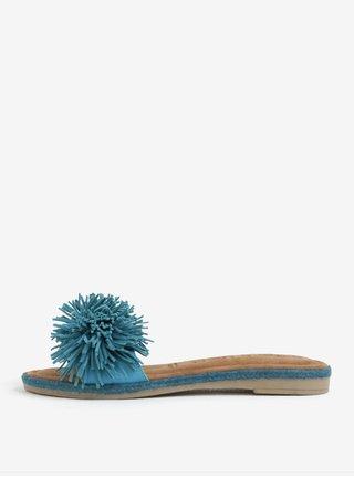 Papuci turcoaz din piele naturala cu franjuri frontale - Tamaris