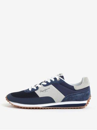 Sivo-modré semišové pánske tenisky Pepe Jeans Garret Sailor