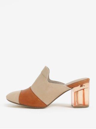 Hnedé kožené papuče Tamaris
