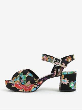 Čierne dámske vzorované sandále na podpätku a platforme Pepe Jeans Hooper Spring