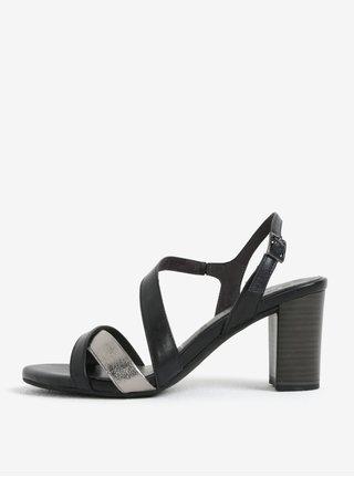 Sandale negre din piele naturala - Tamaris