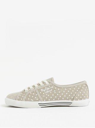 Pantofi sport bej cu buline si aspect stralucitor pentru femei -  Pepe Jeans Aberlady Sand
