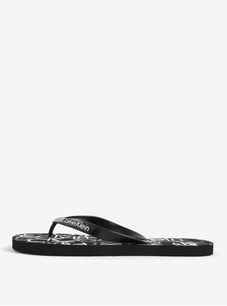 Papuci flip-flop barbatesti negri cu print Calvin Klein