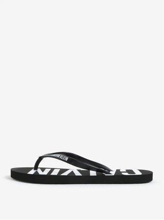 Černé dámské žabky s potiskem Calvin Klein Underwear