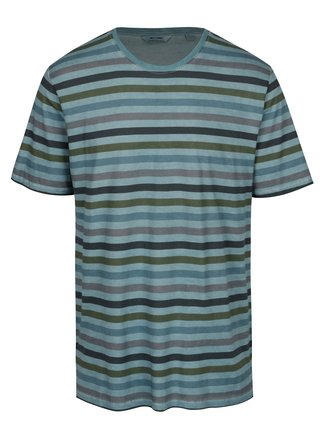 Tricou albastru cu dungi din bumbac - ONLY & SONS Sune