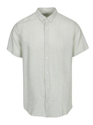 Svetlozelená ľanová slim košeľa s krátkym rukávom ONLY & SONS Caiden