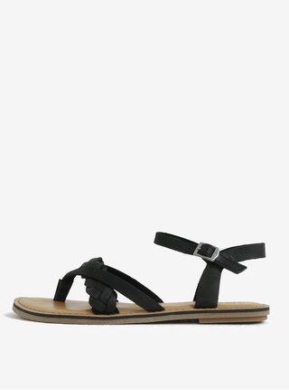 Čierne dámske kožené sandále TOMS Lexie