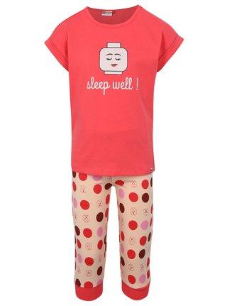 Růžové holčičí dvoudílné puntíkované pyžamo Lego Wear Nevada