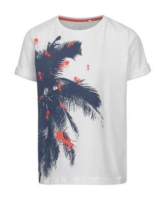 Biele chlapčenské tričko s exotickou potlačou name it Vux