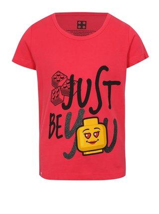 Tmavě růžové holčičí tričko s potiskem a třpytkami Lego Wear