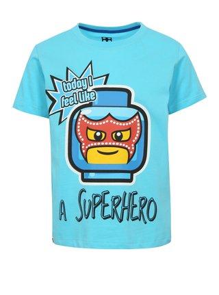 Modré klučičí tričko s potiskem a nápisem Lego Wear
