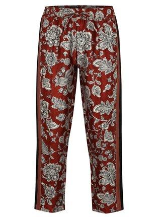 Pantaloni rosii cu print floral si talie inalta Scotch & Soda