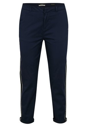 Pantaloni chino regular bleumarin cu dungi contrastante - Scotch & Soda