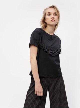 Tricou negru cu ciucuri decorativi - VERO MODA Tally