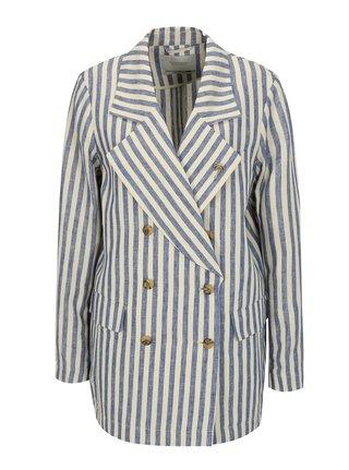 Modro-béžové pruhované ľanové sako s brošňou v striebornej farbe Scotch & Soda