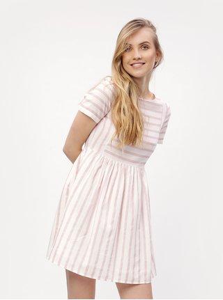 Rochie alba cu dungi roz din amestec de in - VERO MODA Sunny