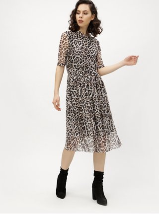 Čierno-sivé leopardie šaty VERO MODA Tina