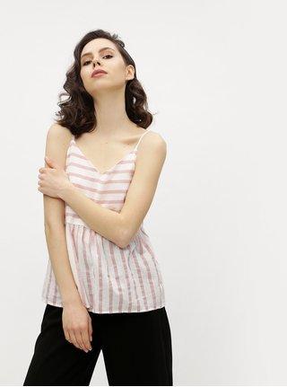Top alb&roz in dungi cu volan amplu VERO MODA Sunny