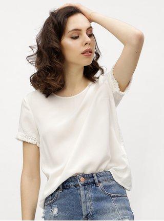 Tricou alb cu model discret si franjuri - VERO MODA Mynte
