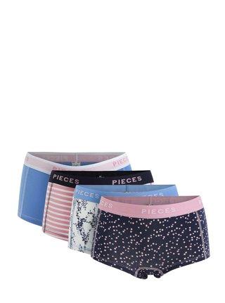 Súprava štyroch nohavičiek v modrej, ružovej a krémovej farbe Pieces Logo