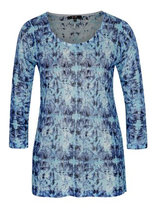 Bluza albastra cu print abstract si maneci 3/4 - Yest