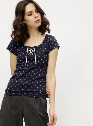Tricou bleumarin cu siret si print maritim Haily´s Floreen