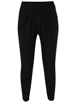 Pantaloni lejeri negri cu drapaje discrete - Yest