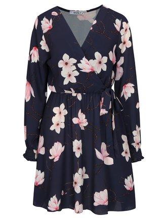 Tmavě modré květované  šaty s překládaným výstřihem Haily´s Lena