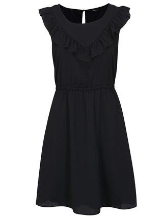 Tmavomodré šaty s volánom ONLY Caroline