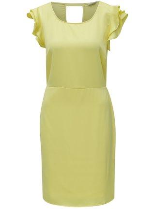 Žlté šaty s volánmi a prestrihom na chrbte VILA Occasion
