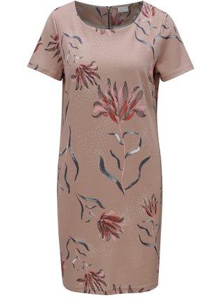 Starorůžové kětované šaty s krátkým rukávem VILA Tinny