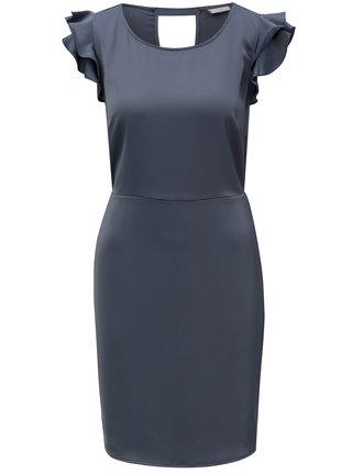Tmavě šedé šaty s volány a průstřihem na zádech VILA Occasion