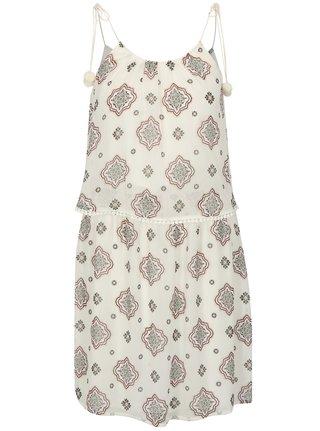 Bílé vzorované šaty s bambulemi ONLY Zoe