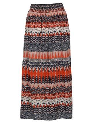 Modro-oranžová vzorovaná maxi sukně VILA Sandro