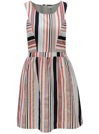 Krémové pruhované šaty  VILA Linis