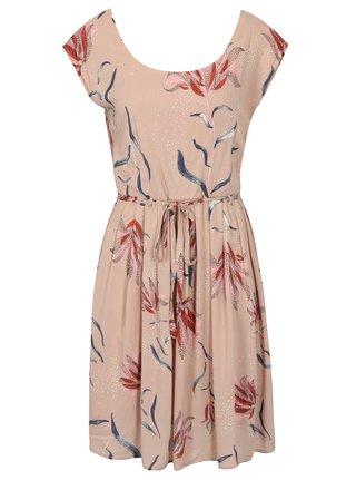 Staroružové kvetované šaty s opaskom VILA Andi
