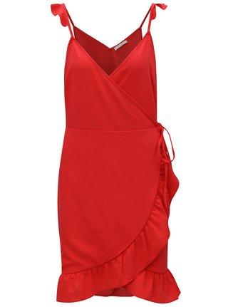Červené zavinovací šaty s volány VILA Elenora
