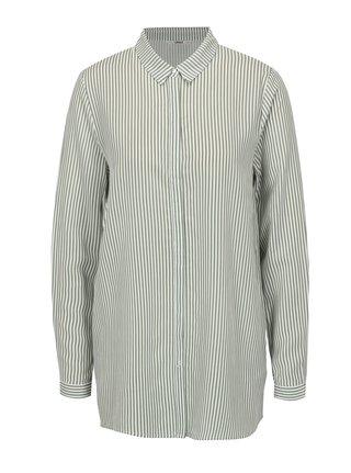 Bielo-zelená pruhovaná oversize košeľa ONLY Glory