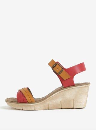 Hnedo-červené dámske kožené sandálky na platforme Weinbrenner