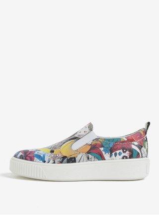 Pantofi slip on multicolori cu print pentru femei Weinbrenner