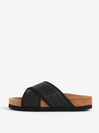 Černé kožené pantofle Selected Femme Mariana