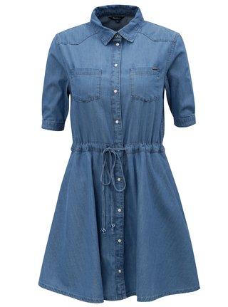 Modré rifľové košeľové šaty Pepe Jeans Marta