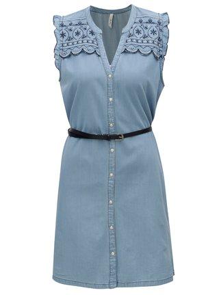 Rochie albastru deschis din denim cu broderie Pepe Jeans Lura