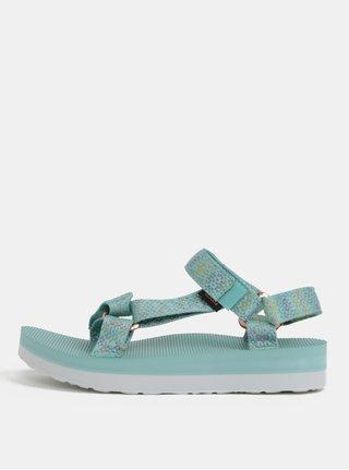 Mentolové dámske vzorované sandále na platforme Teva