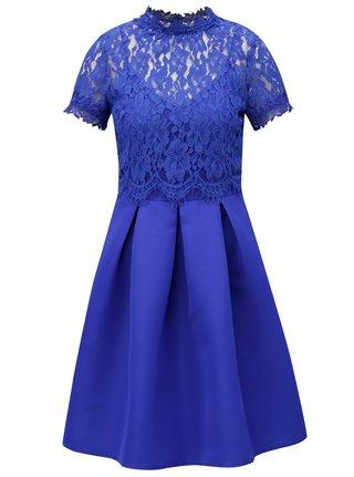 Modré šaty s čipkovaným topom Little Mistress