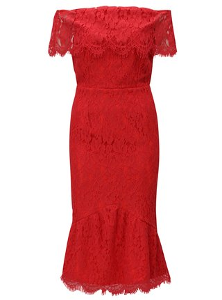 Červené čipkované šaty s odhalenými ramenami Little Mistress