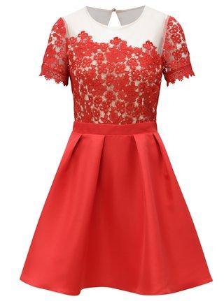 Červené šaty s čipkovaným topom Little Mistress