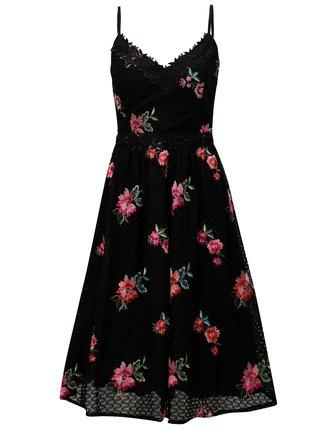 Černé krajkové šaty s výšivkami Little Mistress