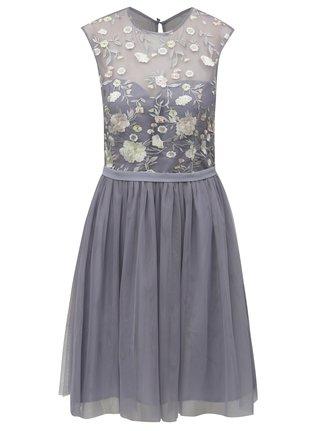 Šedé šaty s tylovou sukní Little Mistress