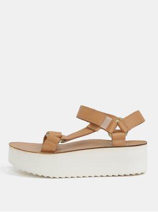 Svetlohnedé dámske kožené sandále na platforme Teva